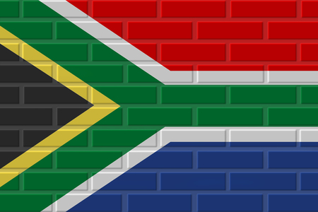 South Africa painted flag. Patriotic brick flag illustration background. National flag of South Africa Imagens