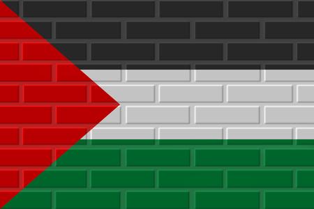 Palestine painted flag. Patriotic brick flag illustration background. National flag of Palestine