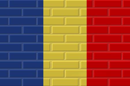 Romania painted flag. Patriotic brick flag illustration background. National flag of Romania