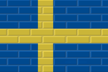Sweden painted flag. Patriotic brick flag illustration background. National flag of Sweden