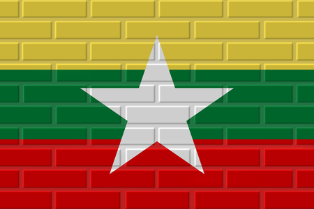 Burma painted flag. Patriotic brick flag illustration background. National flag of Burma Stock Photo