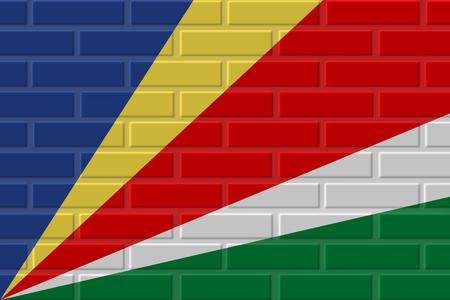 Seychelles painted flag. Patriotic brick flag illustration background. National flag of Seychelles Фото со стока