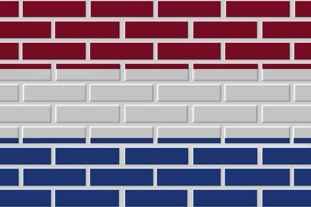 Netherlands painted flag. Patriotic brick flag illustration background. National flag of Netherlands