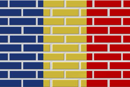 Chad painted flag. Patriotic brick flag illustration background. National flag of Chad