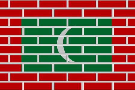 Maldives painted flag. Patriotic brick flag illustration background. National flag of Maldives