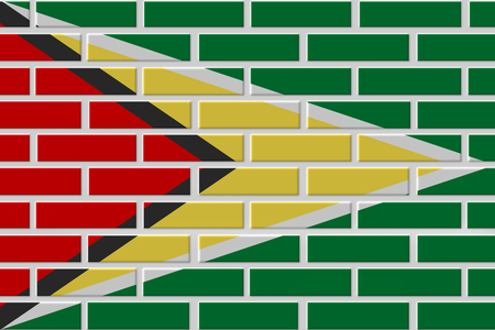 Guyana painted flag. Patriotic brick flag illustration background. National flag of Guyana