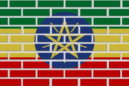 Ethiopia painted flag. Patriotic brick flag illustration background. National flag of Ethiopia Stock Photo