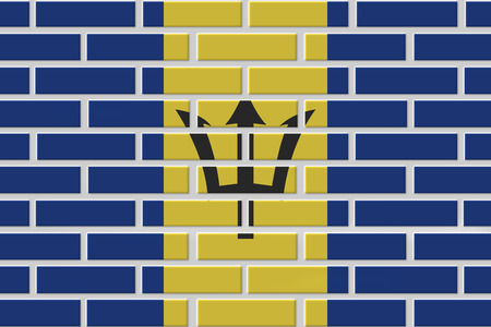 Barbados brick flag illustration. Patriotic background. National flag of Barbados