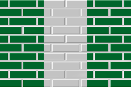 Nigeria painted flag. Patriotic brick flag illustration background. National flag of Nigeria