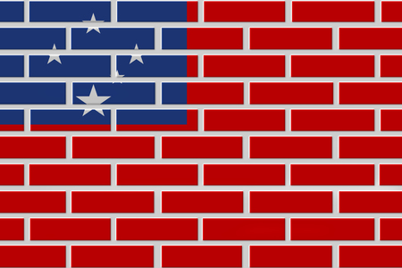 Samoa painted flag. Patriotic brick flag illustration background. National flag of Samoa