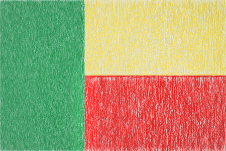 Benin painted flag. Patriotic drawing on paper background. National flag of Benin