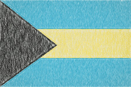 Bahamas painted flag. Patriotic drawing on paper background. National flag of Bahamas