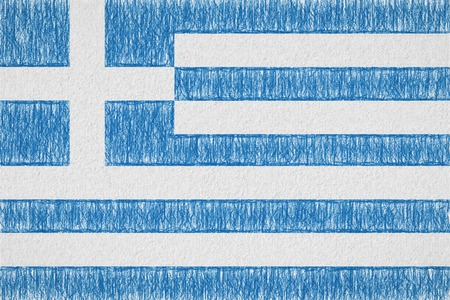 Greece painted flag. Patriotic drawing on paper background. National flag of Greece