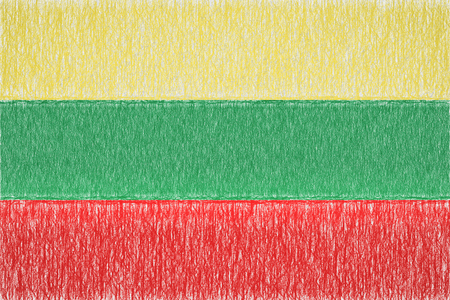 lithuania painted flag. Patriotic drawing on paper background. National flag of lithuania