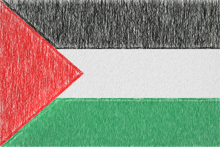 Palestine painted flag. Patriotic drawing on paper background. National flag of Palestine