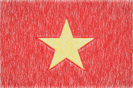 Vietnam painted flag. Patriotic drawing on paper background. National flag of Vietnam