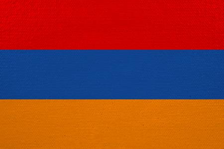 Armenia flag on canvas. Patriotic background. National flag of Armenia Stock Photo