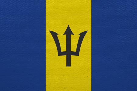 Barbados flag on canvas. Patriotic background. National flag of Barbados