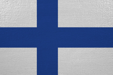 Finland flag on canvas. Patriotic background. National flag of Finland