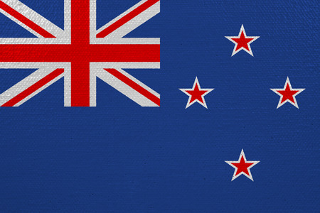 New Zealand flag on canvas. Patriotic background. National flag of New Zealand Stockfoto