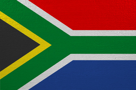 South Africa flag on canvas. Patriotic background. National flag of South Africa Imagens