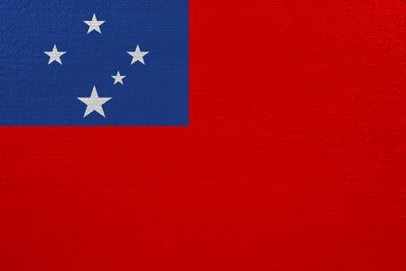 Samoa flag on canvas. Patriotic background. National flag of Samoa