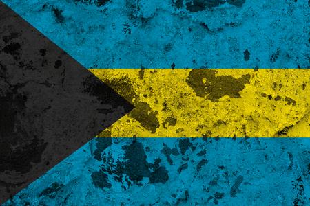 Bahamas flag on old wall. Patriotic grunge background. National flag of Bahamas Stock Photo
