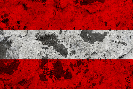 Austria flag on old wall. Patriotic grunge background. National flag of Austria Standard-Bild - 118068617