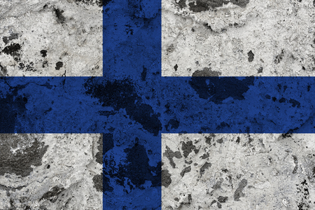 Finland flag on old wall. Patriotic grunge background. National flag of Finland Stock Photo