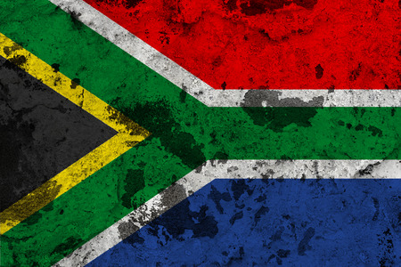 South Africa flag on old wall. Patriotic grunge background. National flag of South Africa