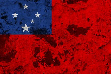 Samoa flag on old wall. Patriotic grunge background. National flag of Samoa Stock Photo