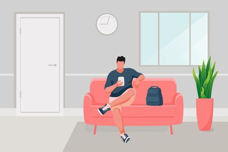 Mann sitzt auf dem Sofa. Mann mit Handy. Vektor-Illustration