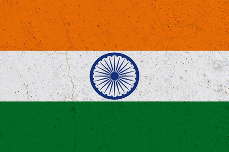 India flag on concrete wall. Patriotic grunge background. National flag of India