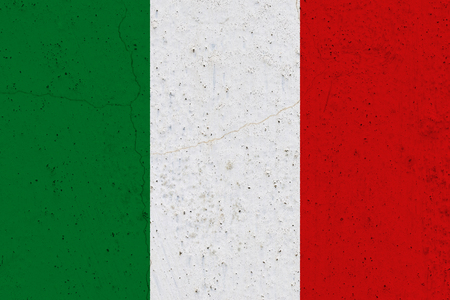 Italy flag on concrete wall. Patriotic grunge background. National flag of Italy