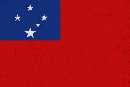 Samoa flag on concrete wall. Patriotic grunge background. National flag of Samoa Stock Photo