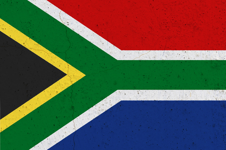 South Africa flag on concrete wall. Patriotic grunge background. National flag of South Africa