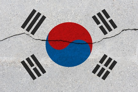 South korea flag on concrete wall with crack. Patriotic grunge background. National flag of South korea