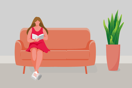 Girl sitting on the sofa. Young girl reading book. Vector illustration