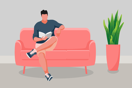 Man sitting on the sofa. Young man reading book. Vector illustration