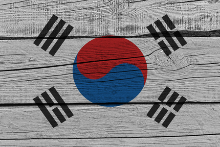 South korea flag painted on old wood plank. Patriotic background. National flag of South korea