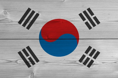 South korea flag painted on old wood plank. Patriotic background. National flag of South korea Imagens - 119464389