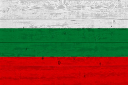 Bulgaria flag painted on old wood plank. Patriotic background. National flag of Bulgaria Stock Photo