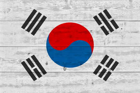South korea flag painted on old wood plank. Patriotic background. National flag of South korea Imagens - 119466179