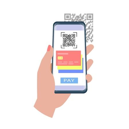 Paiement par code QR. Main tenant un smartphone pour utiliser l'application pour payer avec le code qr.