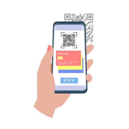 Qr code payment. Hand holding smartphone to use the app to pay with qr code.  イラスト・ベクター素材