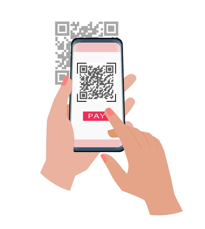 Qr code payment. Hand holding smartphone to use the app to pay with qr code. Vector illustration. 矢量图像
