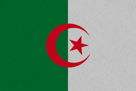 Algeria fabric flag. Patriotic background. National flag of Algeria Reklamní fotografie