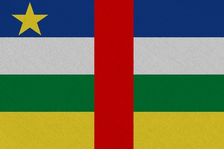 Central African Republic fabric flag. Patriotic background. National flag of Central African Republic