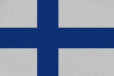 Finland fabric flag. Patriotic background. National flag of Finland Stock Photo