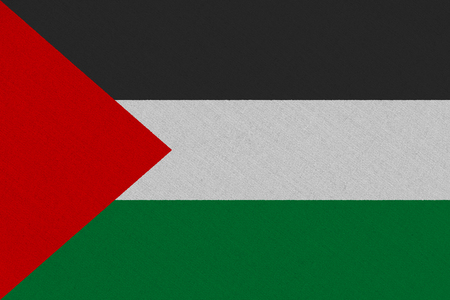 Palestine fabric flag. Patriotic background. National flag of Palestine Stock Photo